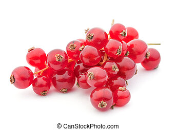 Red currant berry closeup on white background