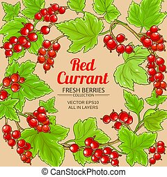 red currant frame on color background