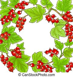 red currant frame on white  background