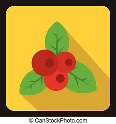 Red currant icon, flat style