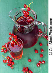 Red currant juice in glass with fruits