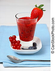 Red currant, raspberry, blueberry smoothie