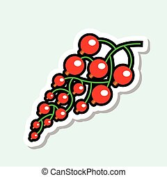 Red Currant Sticker On Blue Background Colorful Fruit Icon...