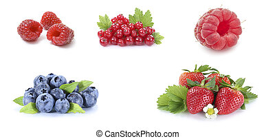 Red currant, strawberry, blueberry, raspberry isolated on white background