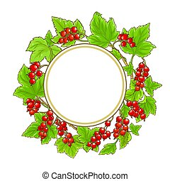 red currant vector frame on white background