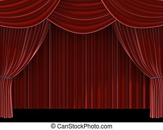 red curtain - 3d rendered illustration of a red theatre ...