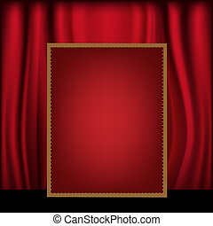 Red Curtain Background Blank Billboard, Vector Illustration