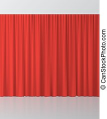 Red curtain background. Vector illustration.