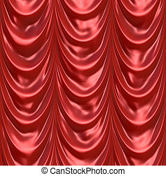 Red Curtain Drapery - An illustration of a silky satin red...
