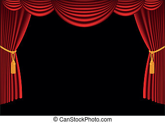 Red curtain - Vector illustration of Red curtain