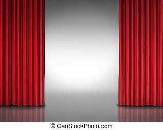Entertainment background for movie performances at a glossy theater stage or store opening with opened red velvet drapes or curtains revealing a glowing white background.