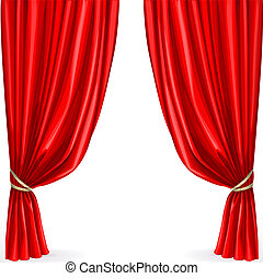Red curtain isolated on a white background