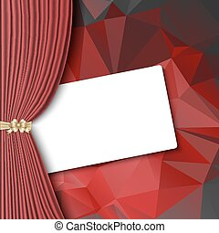 theater curtain with blank card