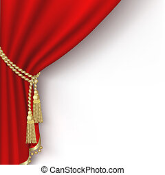 Red curtain on the  white background. Clipping Mask. Mesh.