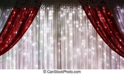 Red curtain on theater, cinema or wedding theme.