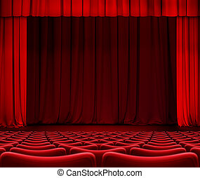 red curtain on theater stage with seats 3d illustration