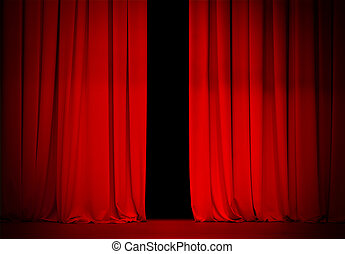 red curtain on theatre or cinema stage slightly open - red...