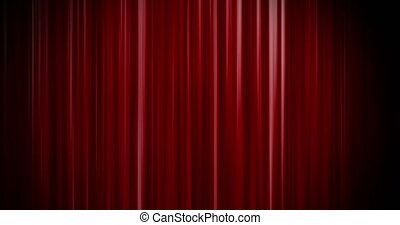 Red curtain open up and down green screen - Shot of Red...