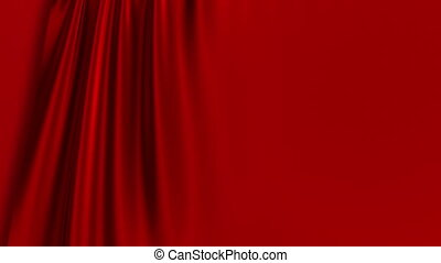 Red Curtain Opening. Green Screen.