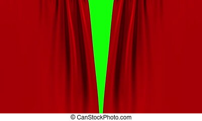 Red Curtain Opening On Green Screen.