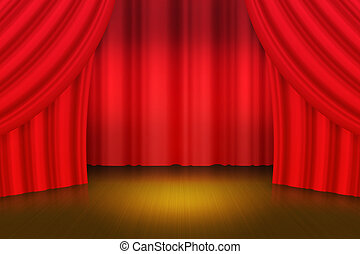Red Curtain Stage Background