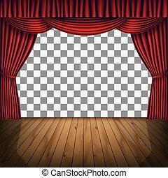red curtain stage - transparent frame of stage with red...