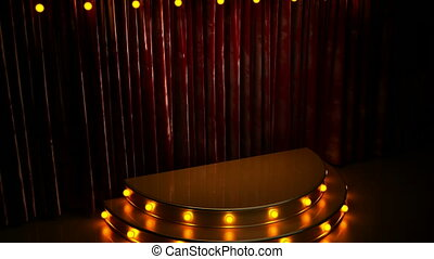 red curtain stage with golden podium and lights