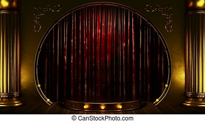 red curtain stage with gold