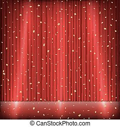 red curtain stage with light and gold confetti