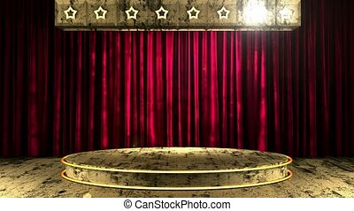 red curtain stage with loop lights