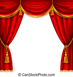 Red curtain - Theater stage with red curtain. Detailed ...