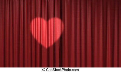 red curtain with spotlight as heart shape