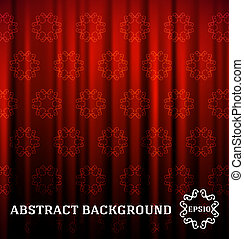 red curtain with decor vector abstract background
