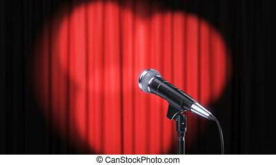 Red Curtain with Rotating Spotlights and Microphone