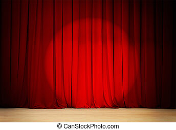 red curtain with spot light theater stage