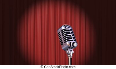 Red Curtain with Spotlight and Vintage Microphone