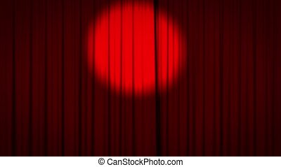 Red curtain with spotlight opening - Realistic animation of...