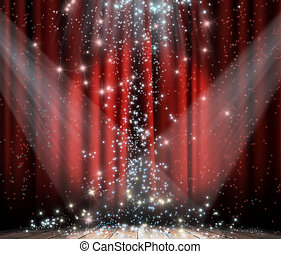 Red curtain with star - Red curtain with spotlights and...