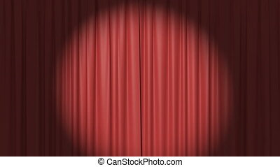 Red Curtain with the Spotlight, Beautiful Seamless Looped 3d...