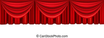 Red curtains of theater stage. Template for theatrical performance, movie house or presentation. Detailed mesh illustration.