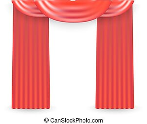 Red curtains on a white background. Vector