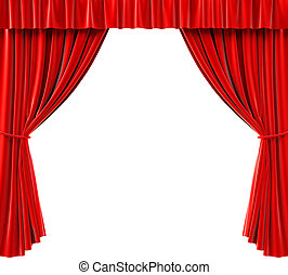 curtains - red curtains on a white background