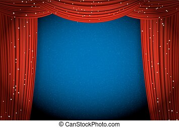 Red Curtains On Blue Background With Glittering Stars. Open Curtains As  Theater Or Movie Presentation