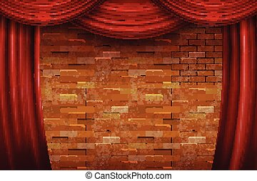 Red curtains on brick wall background.