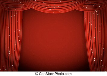 red curtains on red background with glittering stars. open...