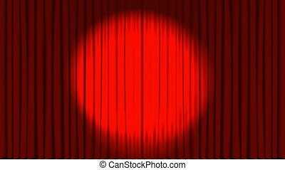 Red curtains open and disco ball