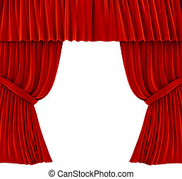 Red curtains over white