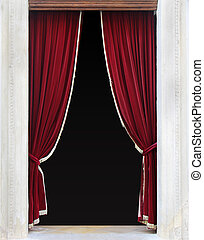 Red curtains - Red velvet curtains on entrance door sides