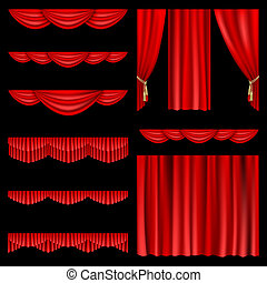 Red curtains - Set of red curtains to theater stage. Mesh.