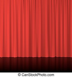 Red curtains with mirror reflection. Vector illustration.